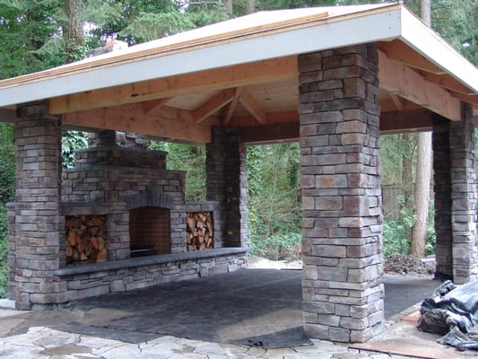 Outdoor Fireplace Patio Stone Covered Patio Outdoor