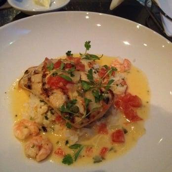 Grilled Mahi-Mahi w/ laughing bird shrimp, hearts of palm, jasmine ...