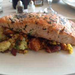 Blue moon fish co salmon on a sweet potato and corn hash for Blue moon fish company brunch