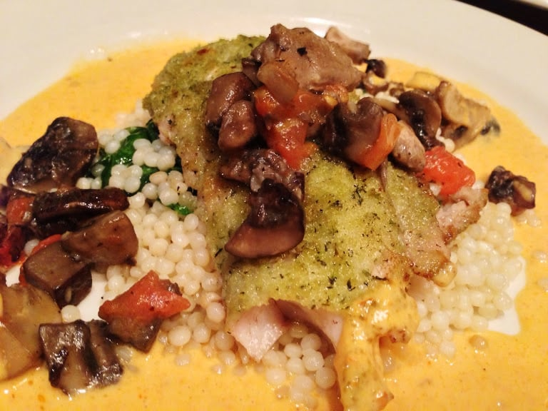 Herb-crusted fish fillet with west coast mushrooms and ...