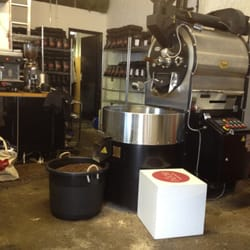 Pre-remodel, this is a shot of the roastery's roasting machine
