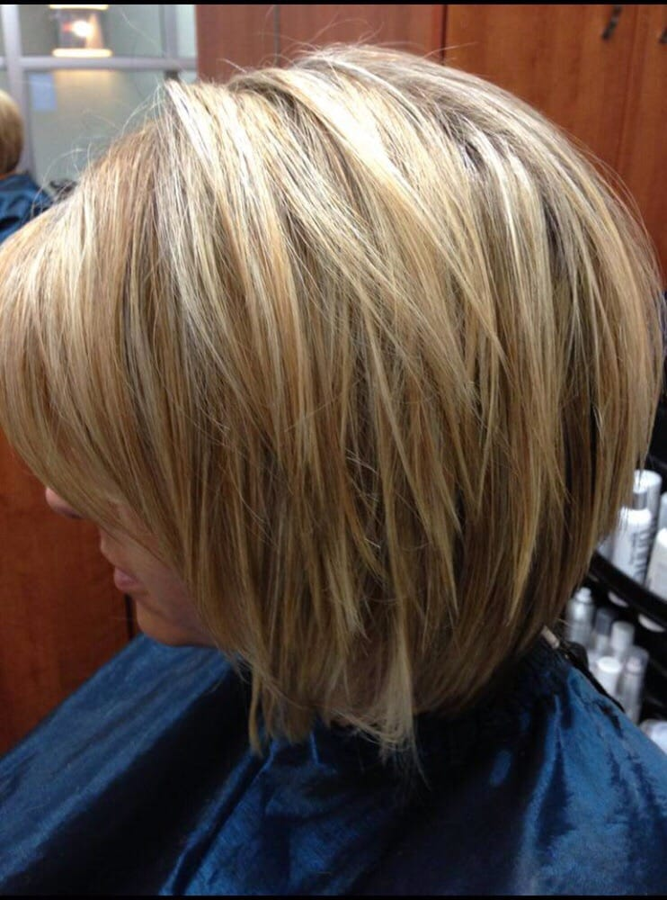 Fun textured A-line with lightest blonde highlights and ...