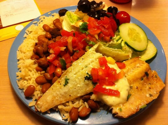Watertown ocb baked fish rice and beans lettuce wedge for Baked fish and rice
