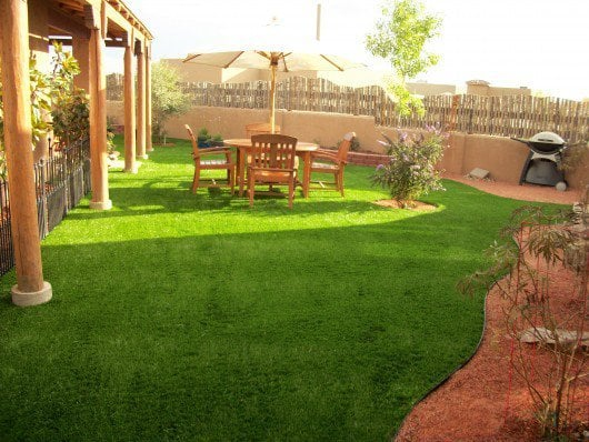 Backyard landscape with SYNLawn artificial grass  Annapolis, MD
