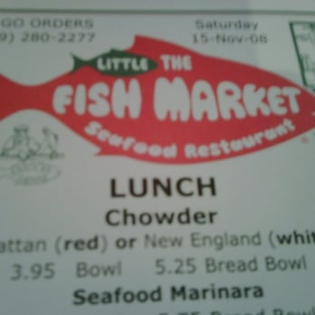The little fish market closed seafood restaurants for Little fish menu