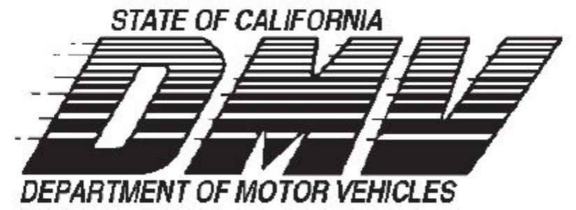 for California state department of motor vehicles