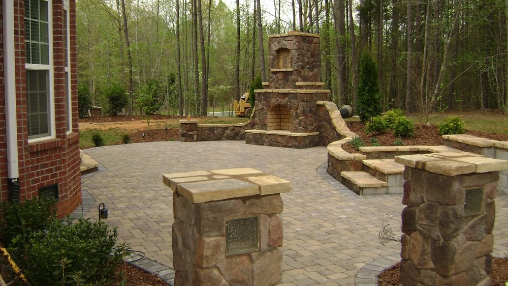 outdoor fireplace and paver patio waxhaw nc this