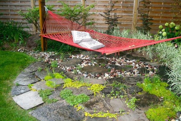 Hammock With Random Flagstone Planting River Stone Patio
