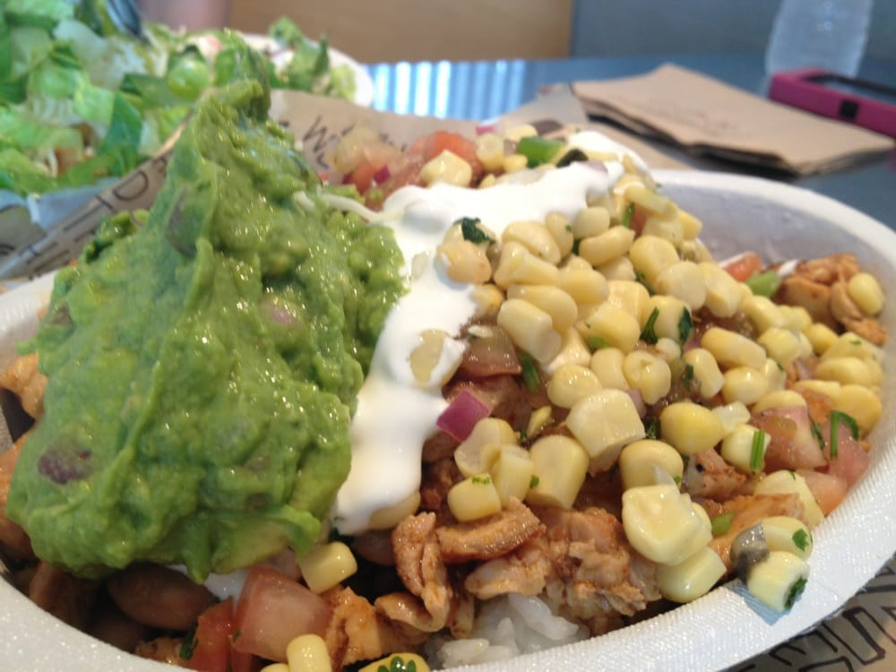 Chipotle bowl. Guacamole, corn, pico, medium spice ...