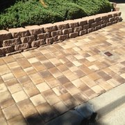 H&J Landscaping Services - Fremont, CA, United States. pavers with stone retaining wall