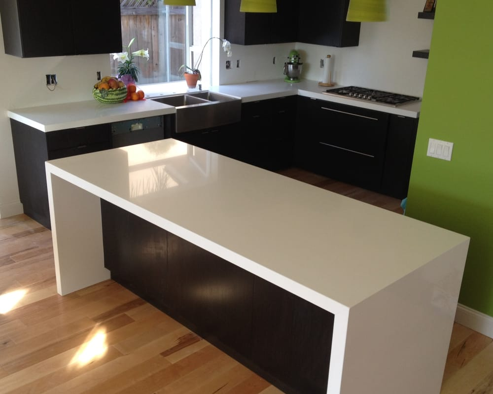 Quartz Countertop With Waterfall On Island Sides Yelp