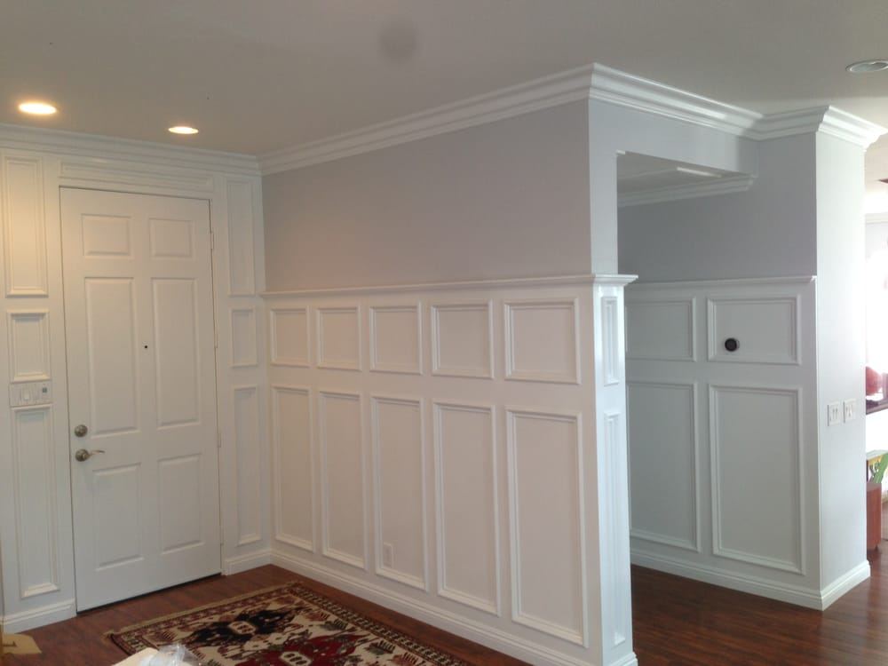 """recessed panel wainscoting in an entry way with 6"""" crown ..."""