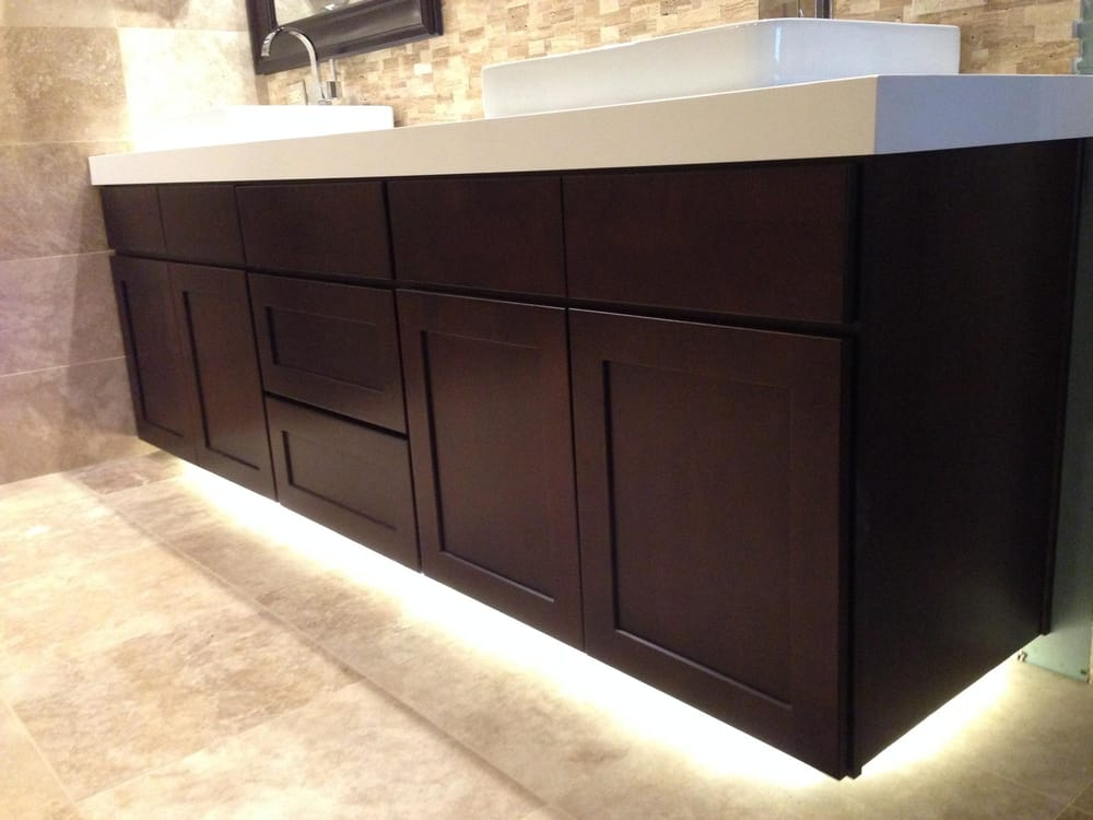 ... vanity cabinet with double laminated white quartz countertops. Yelp