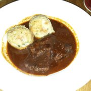 Beef goulash and semmelknödel
