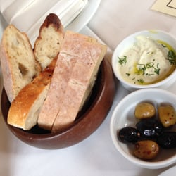 Turkish bread, humus and marinated olives