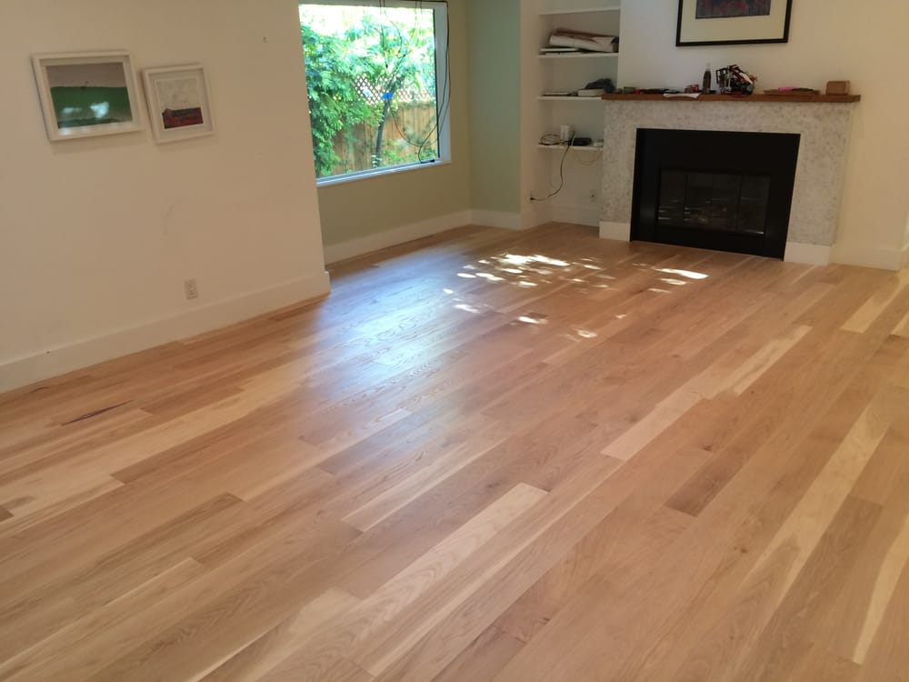 Living Room White Oak Floor Sanded And Finished With A
