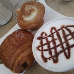 Hot chocolate,  chocolate croissant, & apple cinnamon muffin