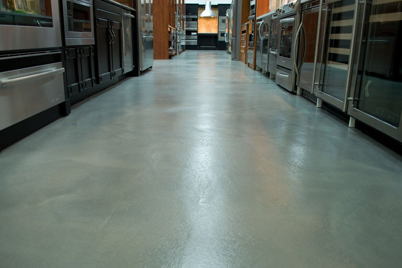 Gray micro topping at marcellins kitchen appliances yelp for Perfect concrete floors