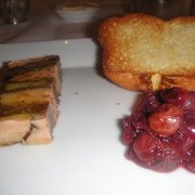 pressed foie gras, confit duck and potato terrine with grape chutney.