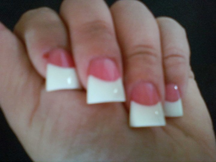 Flared White Tip Nails Pink And White Flare Tips