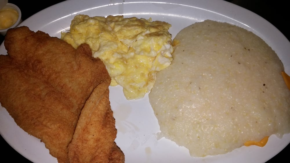 Fried fish and cheese grits with eggs yum yelp for Fish and grits
