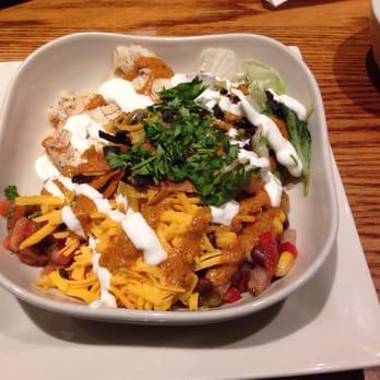 ... grilled chicken, corn & black bean salsa, rice & chipotle pesto