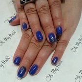 gel manicure by Narina! Blue with geometric silver glitter design