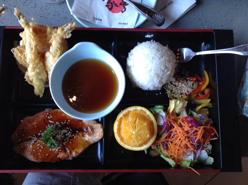 bento lunch box teriyaki salmon and mixed tempura yelp. Black Bedroom Furniture Sets. Home Design Ideas