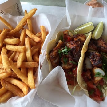... , CT, United States. Fish taco platter, those are some full tacos