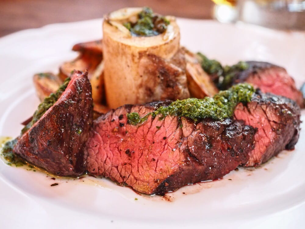 porcini-crusted hanger steak w/ oregano salsa, roasted bone marrow ...