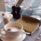 Personal pot of coffee with milk, cubes, and amazing views :)