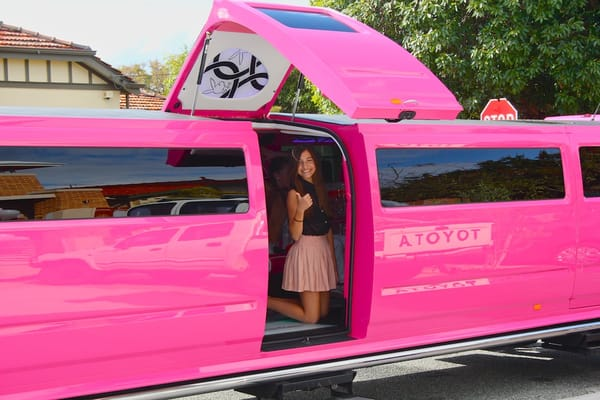 Pink limo perth with jet door electric steps created for birthday