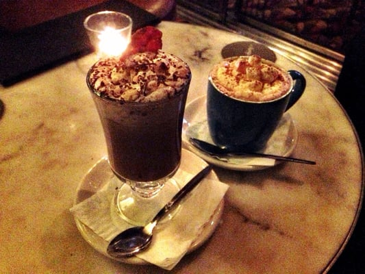 Hazelnut, bourbon and bacon hot chocolate & Baileys hot chocolate with ...