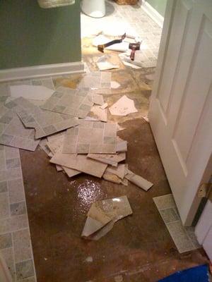 Lawrenceville fire flood water damage repair builders for Bathroom flooded wet carpet