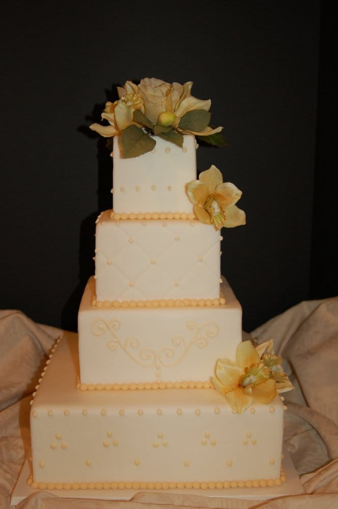 elegant 4 tiered yellow wedding cake yelp. Black Bedroom Furniture Sets. Home Design Ideas