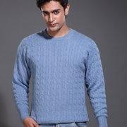 Cable Round Neck Cashmere Sweater for Men