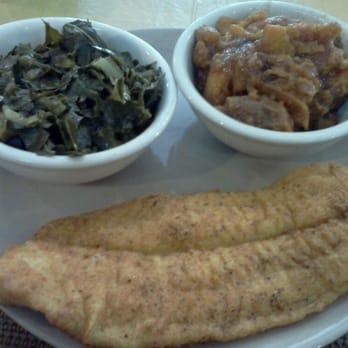 ... , DE, United States. Fried catfish w/ collard greens and yams