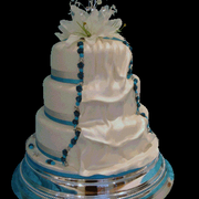 3 Tier Silk Drape Wedding Cake