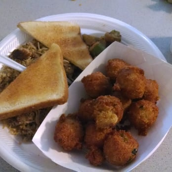 ... . BBQ plate with Jalapeño Hush Puppies chopped pork and fried okra