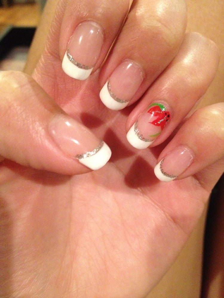 Shellac French manicure with glitter add on and flower design only