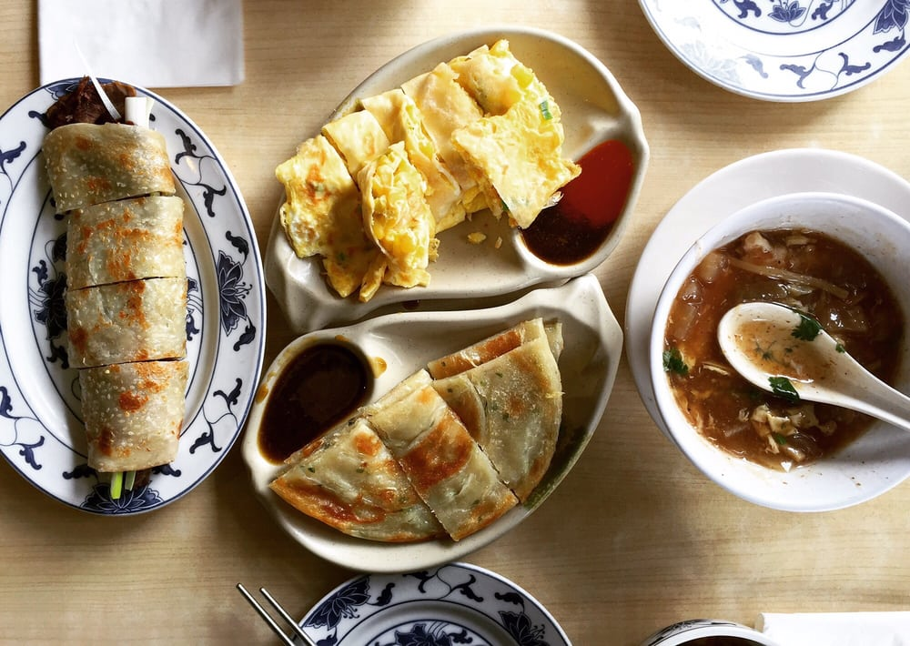 to R: beef scallion wrap, egg pancake with corn, scallion pancake ...