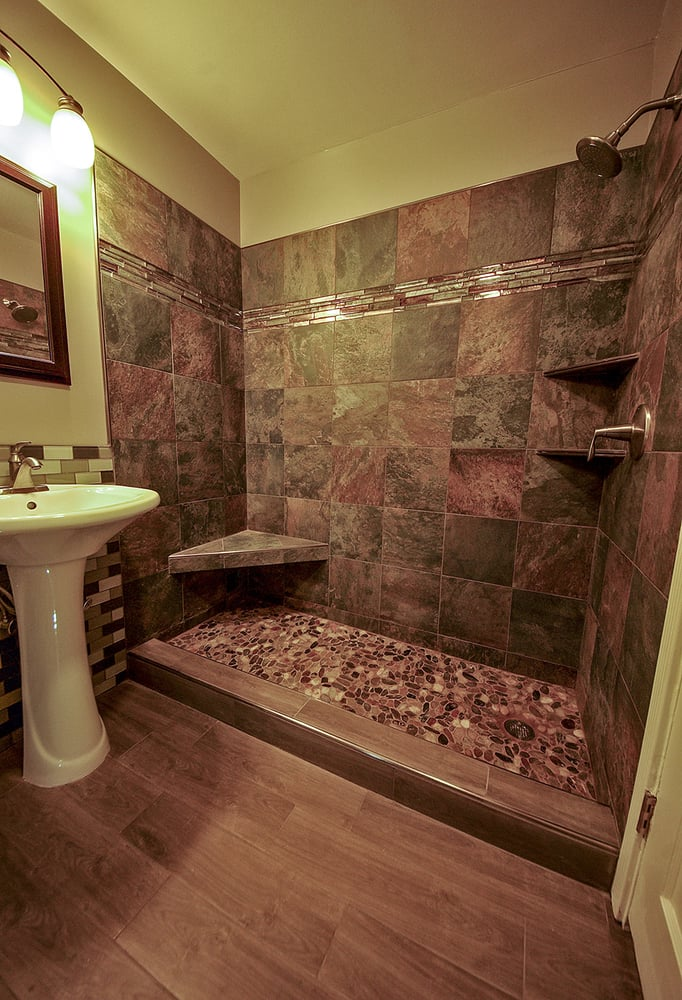 River Rock Shower And Wood Grained Tile Floor Bathroom Remodel In Daly City Ca Yelp