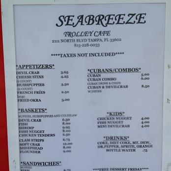 Seabreeze Trolley Cafe Menu