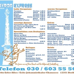 Speisekarte Gyros-Express Stand 08/2012