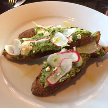Crow - Seattle, WA, United States. minted fava bean and pea bruschetta