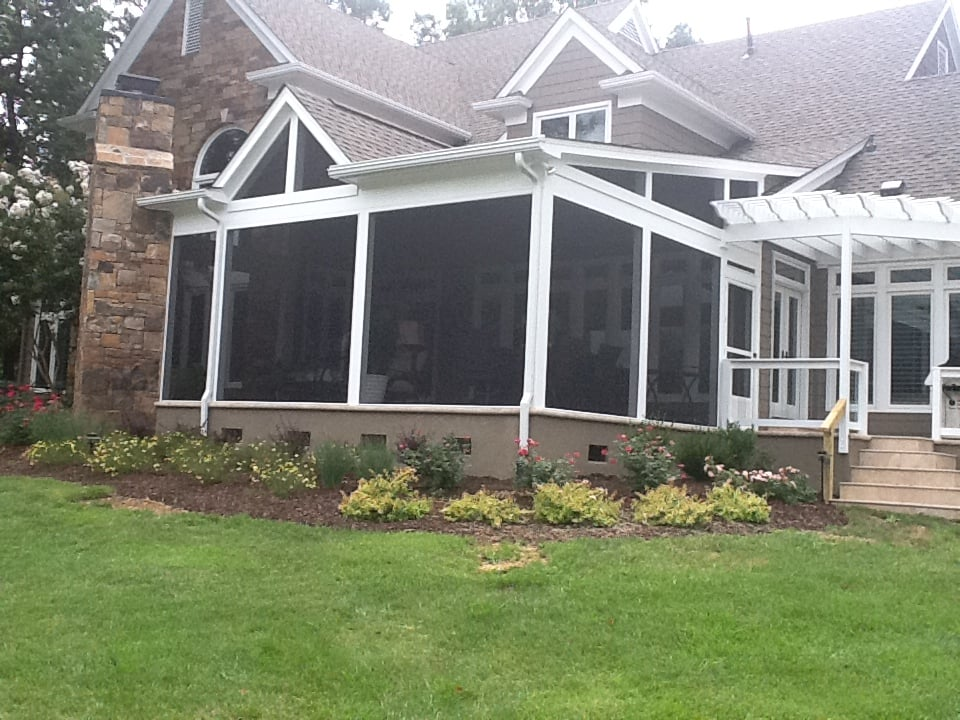 Screened porch with combination shed gable roof yelp for Porches login