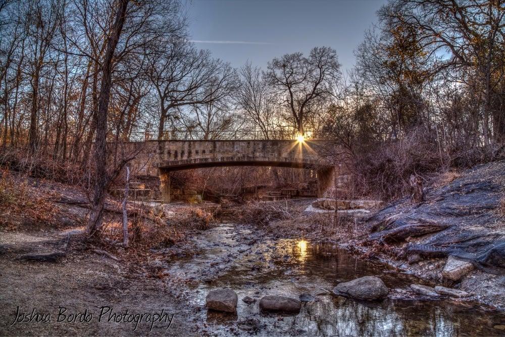Arbor Hills Nature Preserve - Plano, TX, United States. Passenger bridge over the stream.