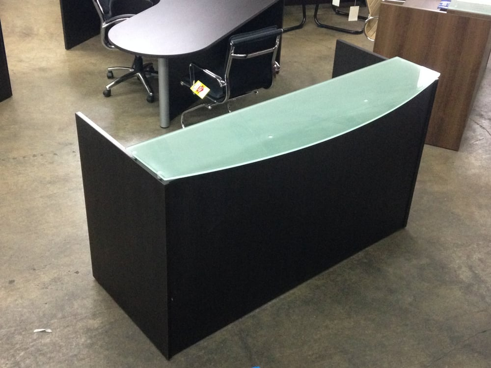 espresso front reception desk with frosted glass counter