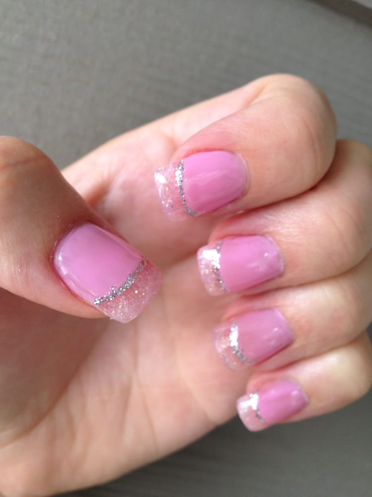 Pink Glitter Gel Nails Pink Glitter Powder Gel Tips