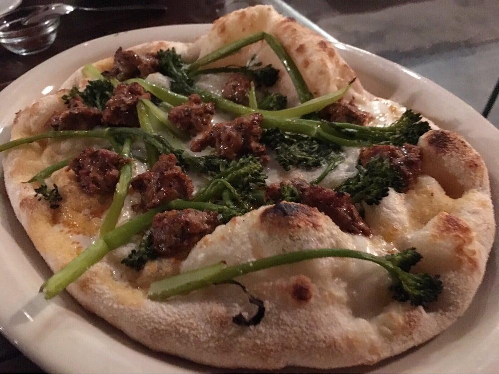 ... . Maranella Pinsa w/ burrata, spicy pork sausage, broccolini | $18